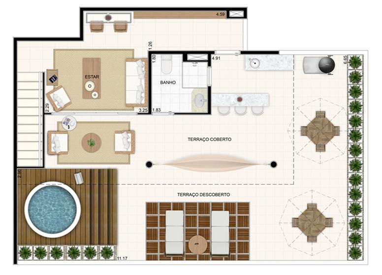 Duplex Superior 176,57m² - Vita Residencial Clube