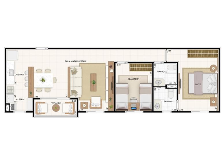Planta 67,35m² - 3 Dorms. (Sala Ampliada) - Vita Residencial Clube