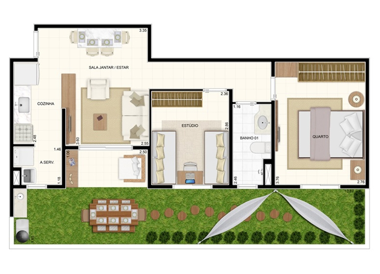 Giardino 70m² - 2 Dorms. - Vita Residencial Clube