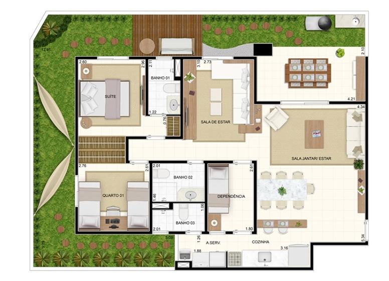 Giardino 129,10m² - 3 dorms (Sala Ampliada) - Vita Residencial Clube