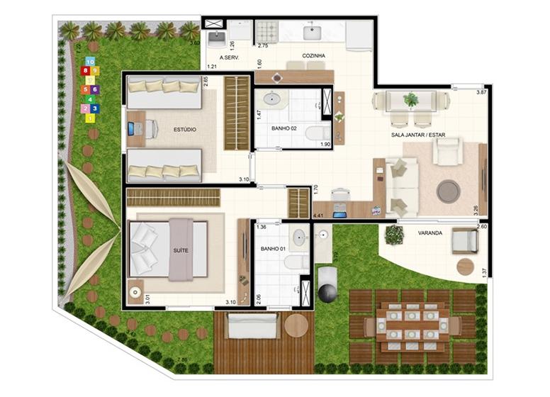 Giardino 93,56m² - 2 Dorms. com Suíte - Vita Residencial Clube