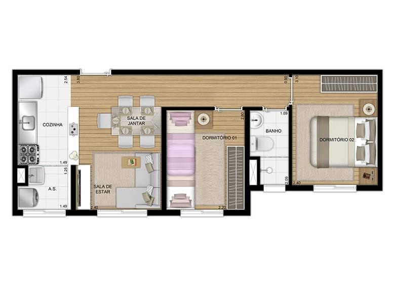Planta 2 dorms 40m² - perspectiva ilustrada - Plano&Cambuci Independência