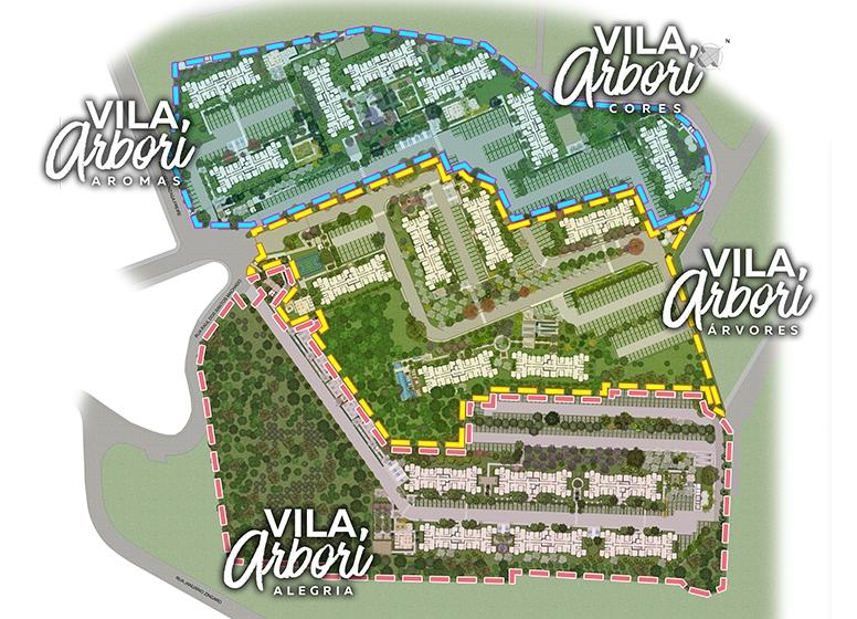 Implantação - Perspectiva ilustrada - Vila Arbori Árvores