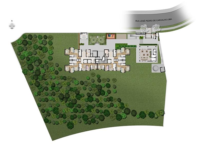 Implantação - perspectiva ilustrada - Plano&Panamby