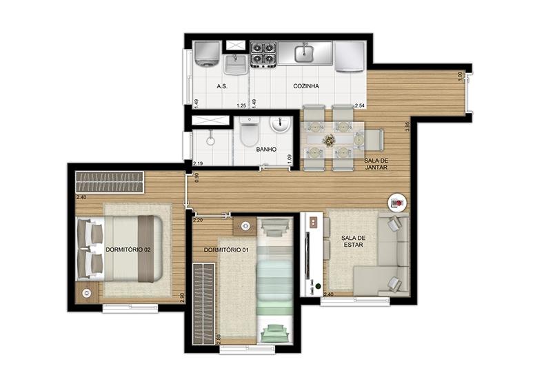 Planta 2 dorms 41m² - perspectiva ilustrada - Plano&Panamby