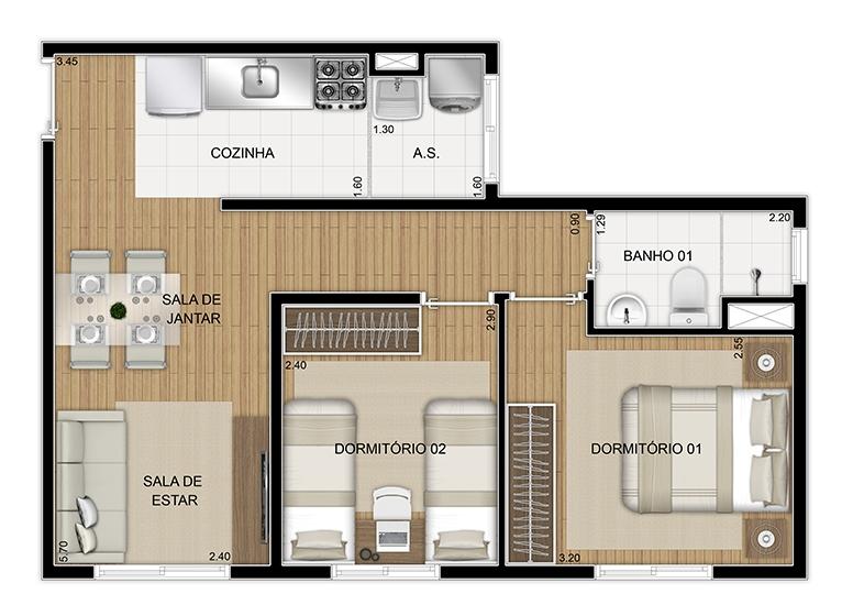 Planta 2 dorms 44,62m² - perspectiva ilustrada - Plano&Itaquera Paes Landim