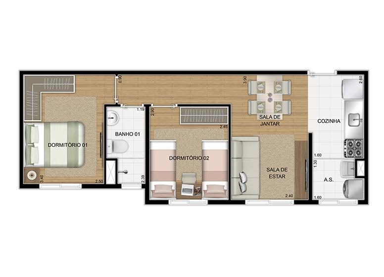 Planta 2 dorms 43,51m² - perspectiva ilustrada - Plano&Itaquera Paes Landim