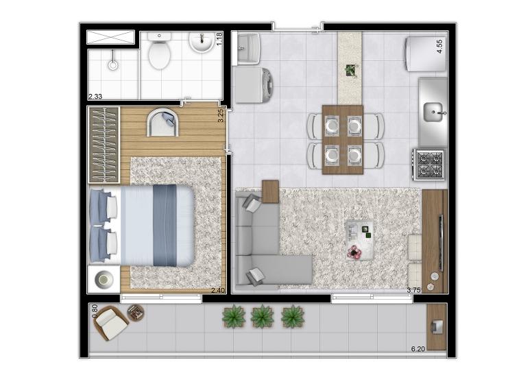 Planta Tipo 36,60m² (Final 1) - perspectiva ilustrada - Plano&Vila Prudente