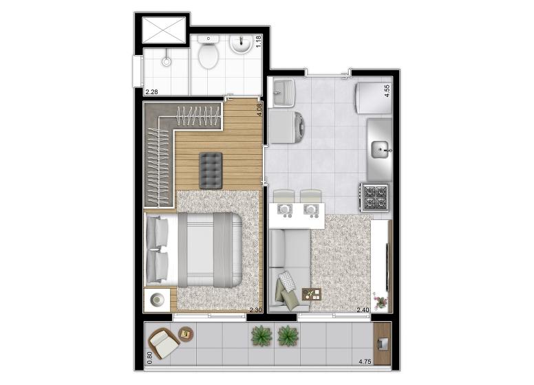 Planta Tipo 30,40m² (Final 12) - perspectiva ilustrada - Plano&Vila Prudente