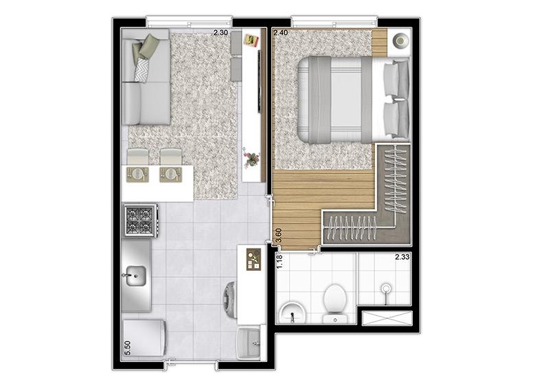 Planta Tipo 27m² (Final 8) - perspectiva ilustrada - Plano&Vila Prudente