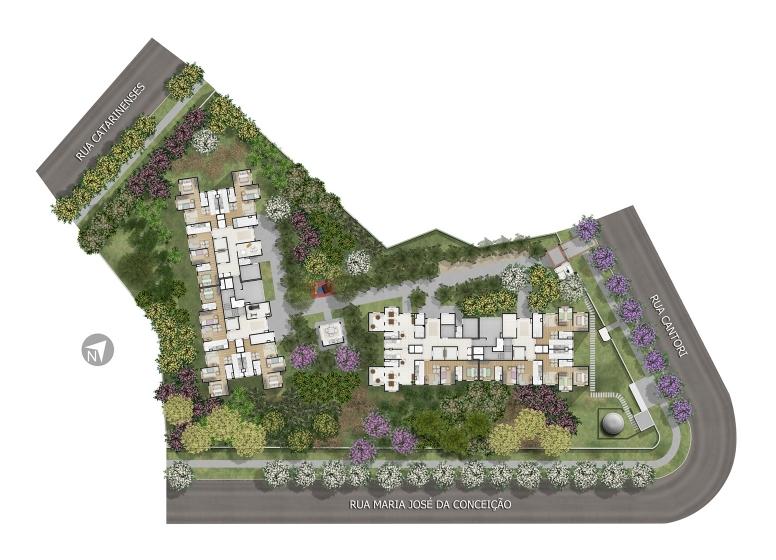Implantação - perspectiva ilustrada (O plantio das imagens é sugestivo) - Plano&Jardim Sul
