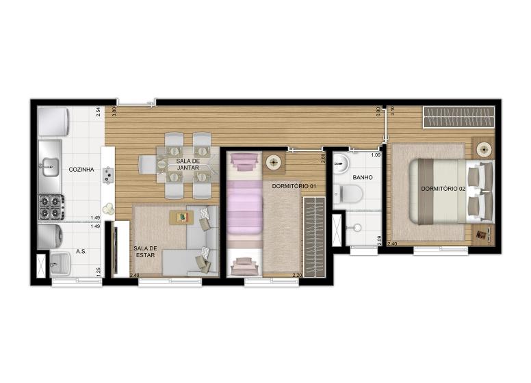 Planta 2 dorms 40m² Finais 4 e 8 - perspectiva ilustrada - Plano&Jardim Sul
