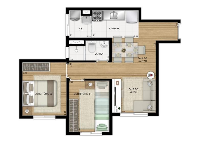 Planta 2 dorms 41m² Finais 3 e 7 - perspectiva ilustrada - Plano&Jardim Sul
