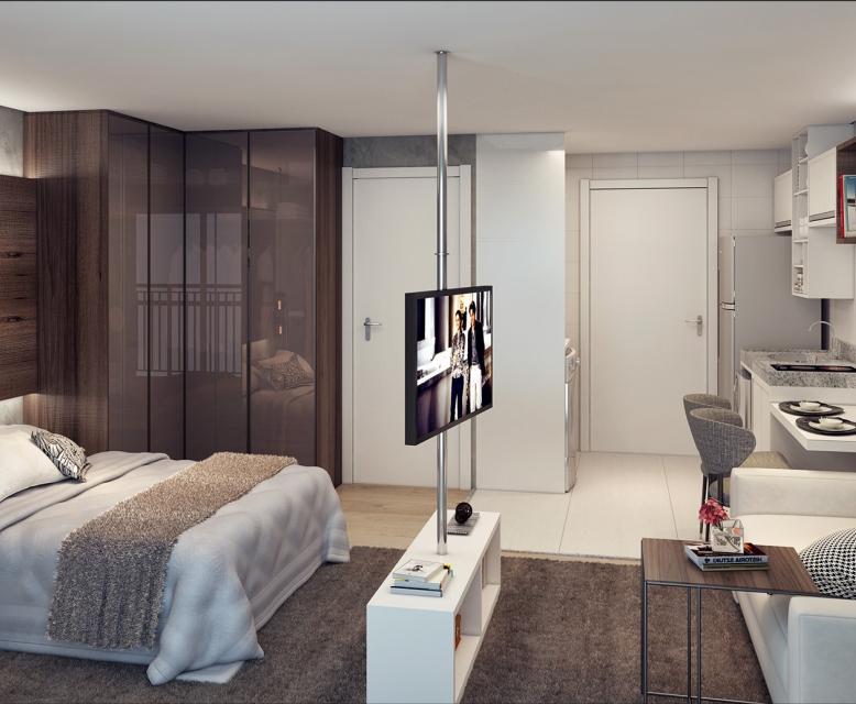 Living - 28m² - perspectiva ilustrada