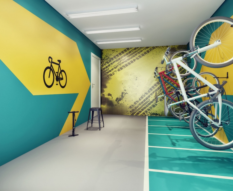 Bicicletário - perspectiva ilustrada
