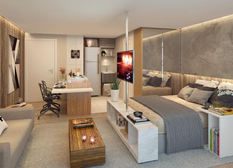 Living - 30,31m² - perspectiva ilustrada - HUM Liberdade
