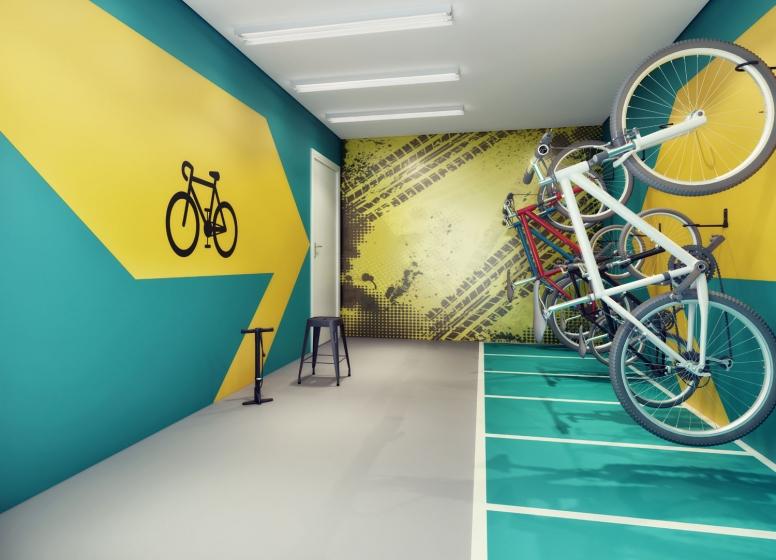 Bicicletário - perspectiva ilustrada - HUM Liberdade