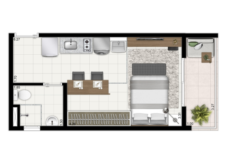 Planta tipo 27,36m² (Final 23 do 1º ao 11° Pav) - HUM Liberdade