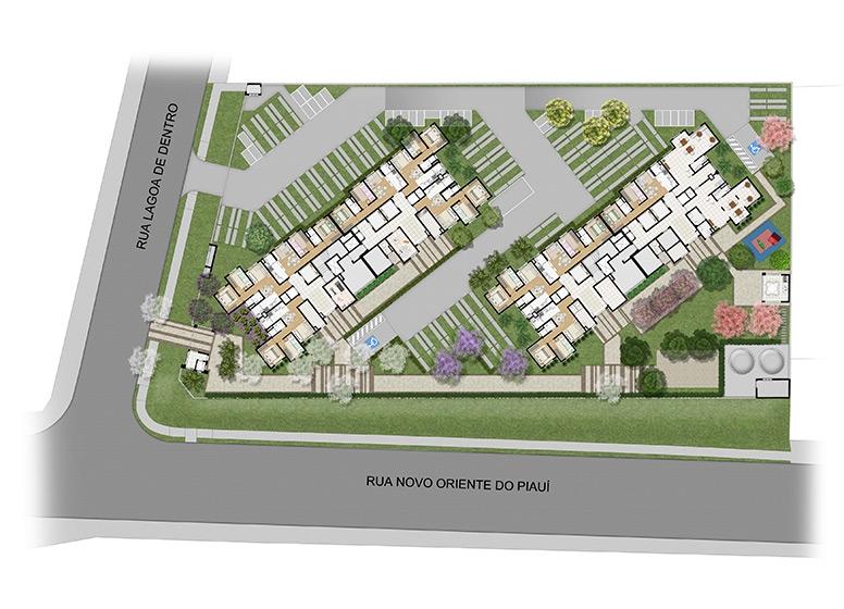 Implantação - perspectiva ilustrada (O plantio das imagens é sugestivo) - Plano&Parque Ecológico