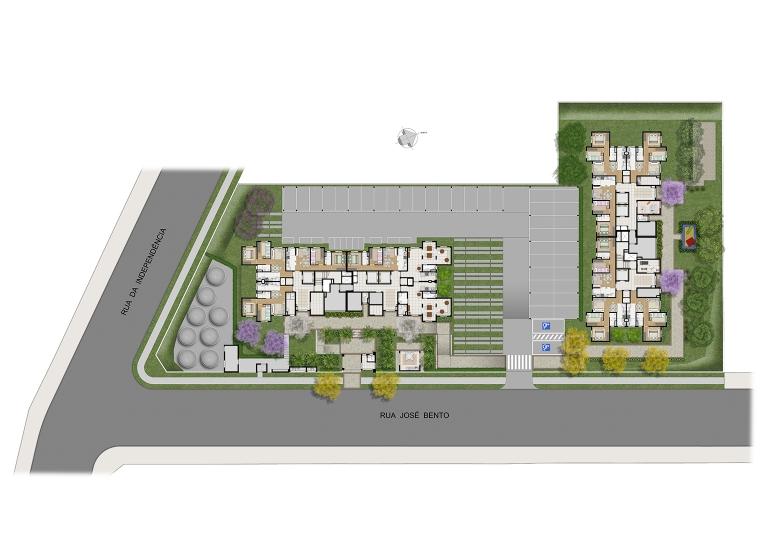 Implantação - perspectiva ilustrada - Plano&Largo do Cambuci José Bento