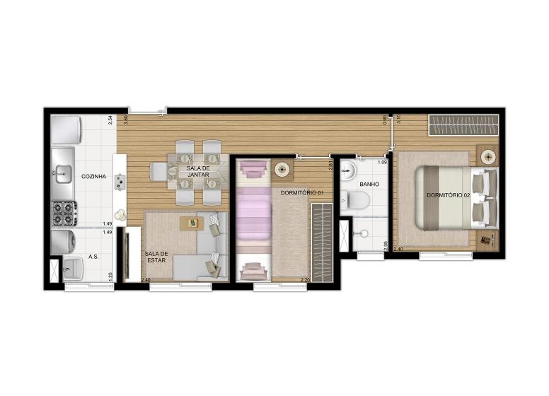 Planta 2 dorms 40m² Finais 4 e 8 - perspectiva ilustrada - Plano&Estação Itaquera - Lagoa do Campelo II