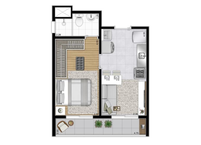 Planta 31m² Final 5 - perspectiva ilustrada - Plano&Cupecê II