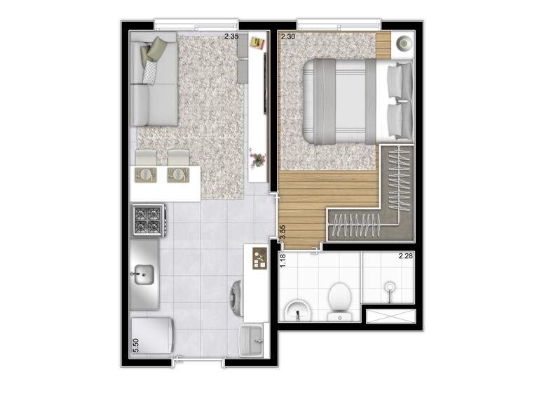 Planta 1 dorm. 27,62m² - Final 8 - Perspectiva Ilustrada - Plano&Estação Vila Sônia