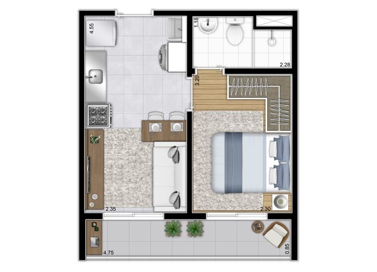 Planta 1 dorm. 28,74m² - Final 2, 6 e 12 - Perspectiva Ilustrada - Plano&Estação Vila Sônia