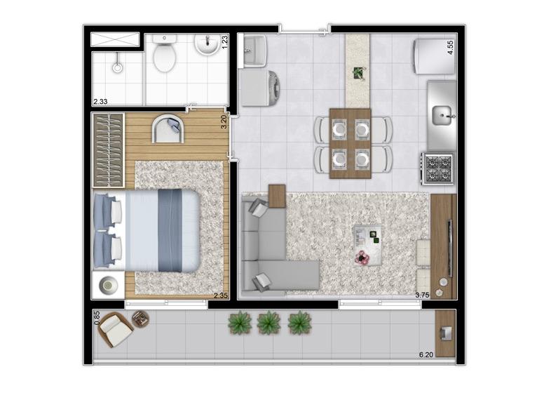 Planta 1 dorm. 37,66m² - Final 1 - Perspectiva Ilustrada - Plano&Estação Vila Sônia