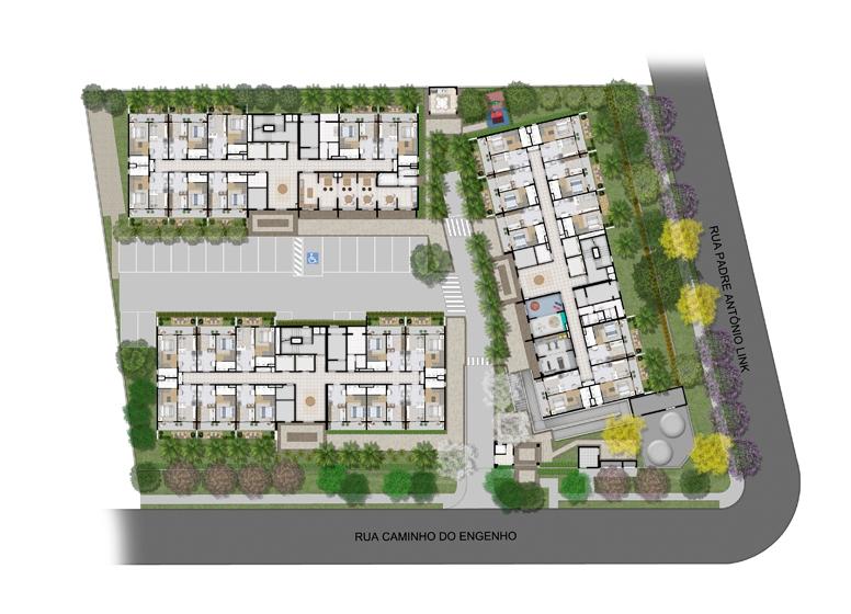Implantação - Perspectiva Ilustrada - Plano&Estação Vila Sônia