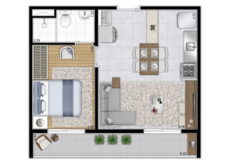 Planta 1 dorm. 37,66m² - Final 1 - Perspectiva Ilustrada - Plano&Bairro do Limão
