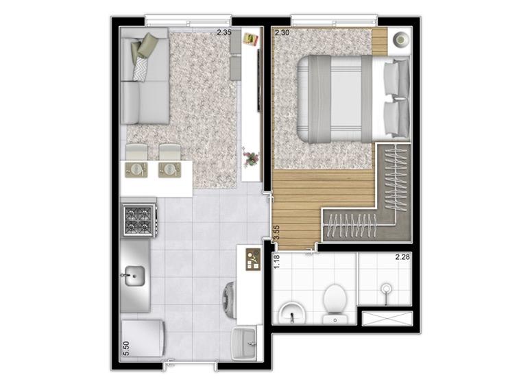 Planta 1 dorm. 27,71m² - Final 8 - Perspectiva Ilustrada - Plano&Bairro do Limão