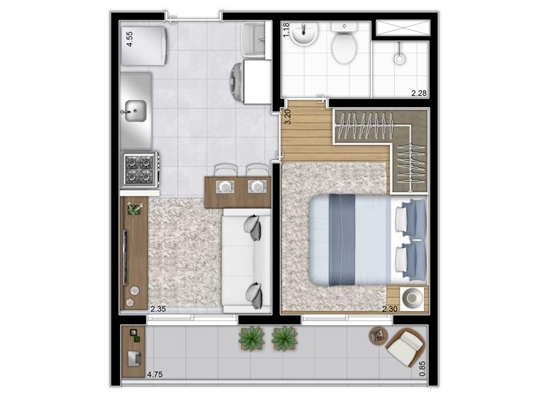 Planta 1 dorm. 28,74m² - Final 2, 6 e 12 - Perspectiva Ilustrada - Plano&Bairro do Limão