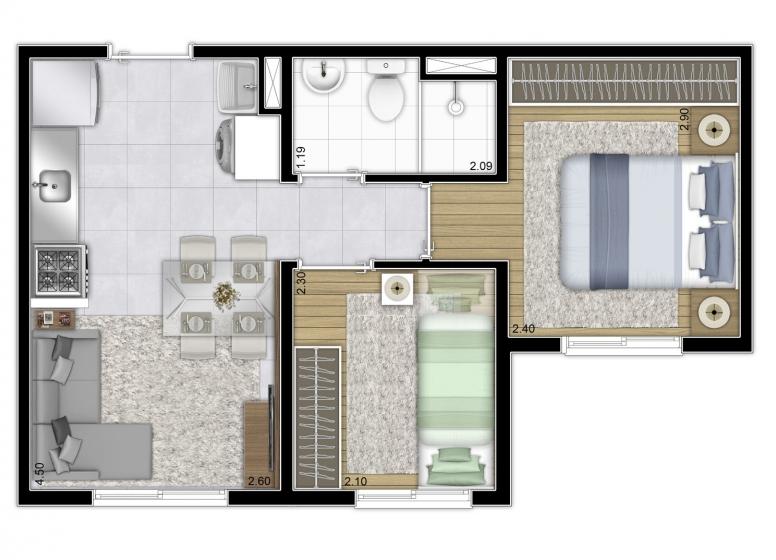 Planta tipo 32,39m² (finais 5 e 11) - Perspectiva Ilustrada - Plano&Vila Carmosina