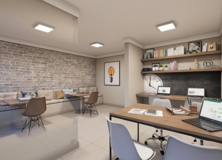 Sala de estudos - Perspectiva Ilustrada - Plano&Vila Carmosina