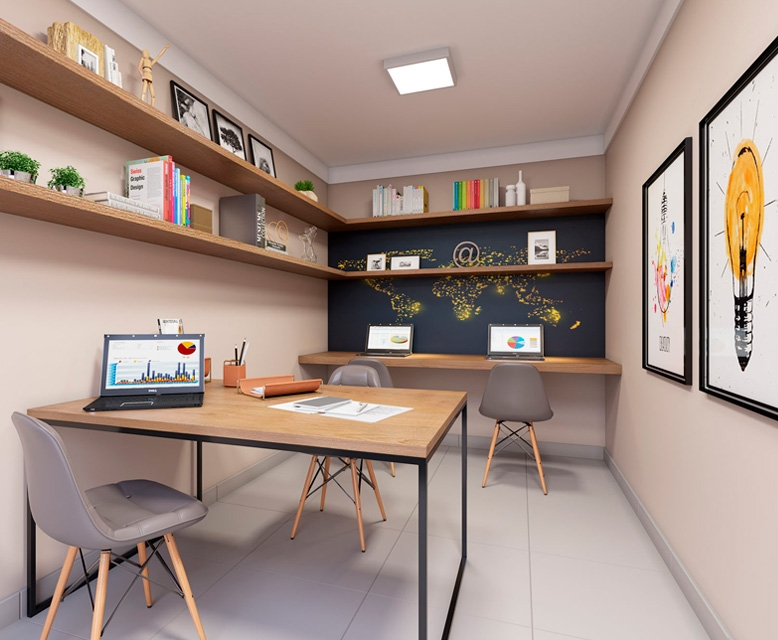 Sala de Estudos - perspectiva ilustrada - Plano&Reserva do Cambuci