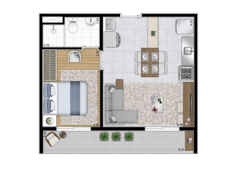 Planta 1 dorm 37,65m² - Final  1 - perspectiva ilustrada - Galeria 635