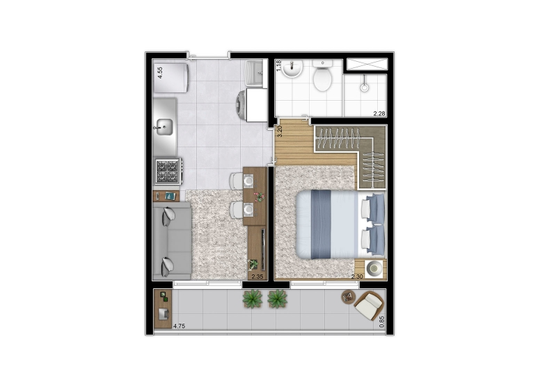 Planta 1 dorm 28,76m² - Finais 2, 6, 9 e 13 - perspectiva ilustrada - Galeria 635