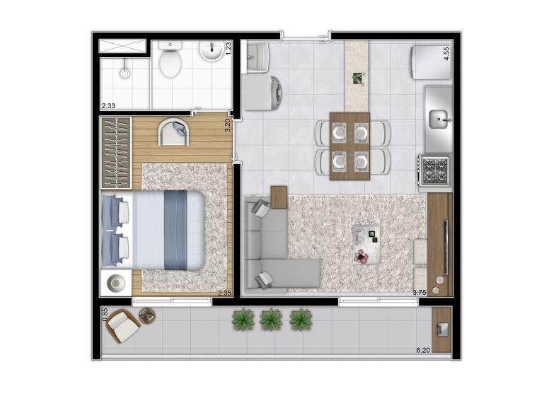 Planta 1 dorm 37,66 m²  - perspectiva ilustrada - Plano&Mooca Praça Lion I