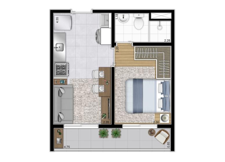 Planta 1 dorm 28,74 m²  - perspectiva ilustrada - Plano&Mooca Praça Lion I