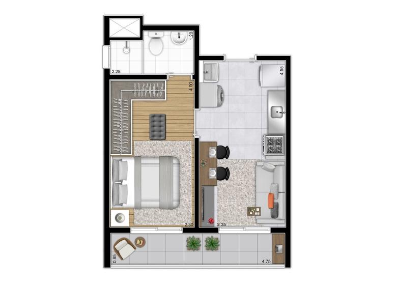 Planta 1 dorm 31,29 m²  - perspectiva ilustrada - Plano&Mooca Praça Lion I