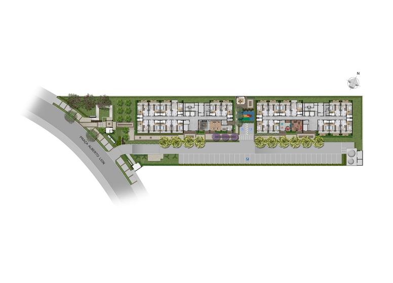 Implantação - perspectiva ilustrada - Plano&Mooca Praça Lion I