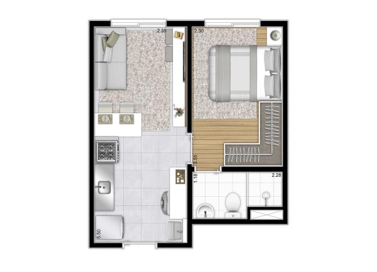 Planta 1 dorm 27,71 m²  - perspectiva ilustrada - Plano&Mooca Praça Lion I