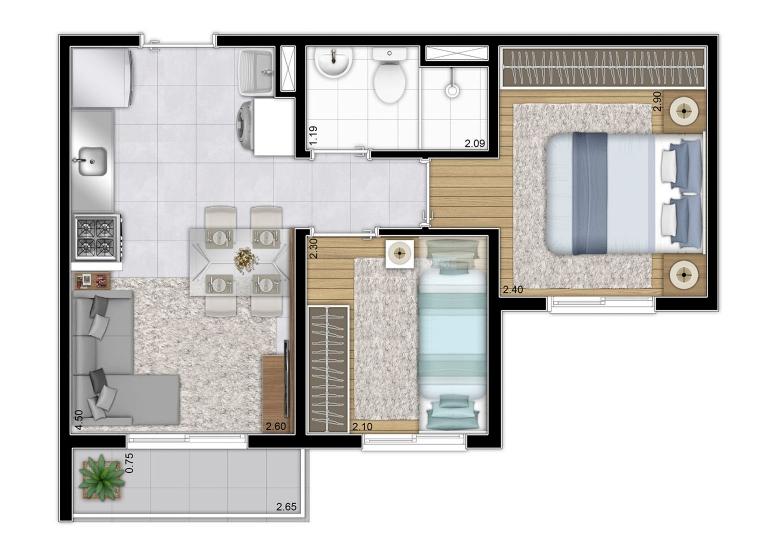 Planta 2 dorm 34,86 m²  - perspectiva ilustrada - Plano&Mooca Praça Lion II