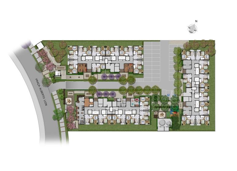 Implantação - Perspectiva ilustrada - Plano&Mooca Praça Lion II