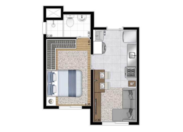 Planta 1 dorm 26m² - Torre A Final 5 e 11 / Torre B Finais 4 e 8 - perspectiva ilustrada - Plano&Reserva do Cambuci