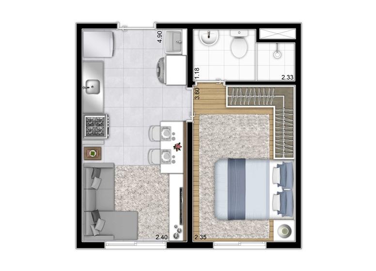 Planta 1 dorm 26m² - Torre A Final 6 e 12 / Torre B Finais 9 - perspectiva ilustrada - Plano&Reserva do Cambuci