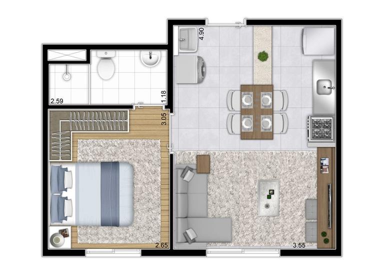 Planta 1 dorm 32m² - final 1 - perspectiva ilustrada - Plano&Reserva do Cambuci
