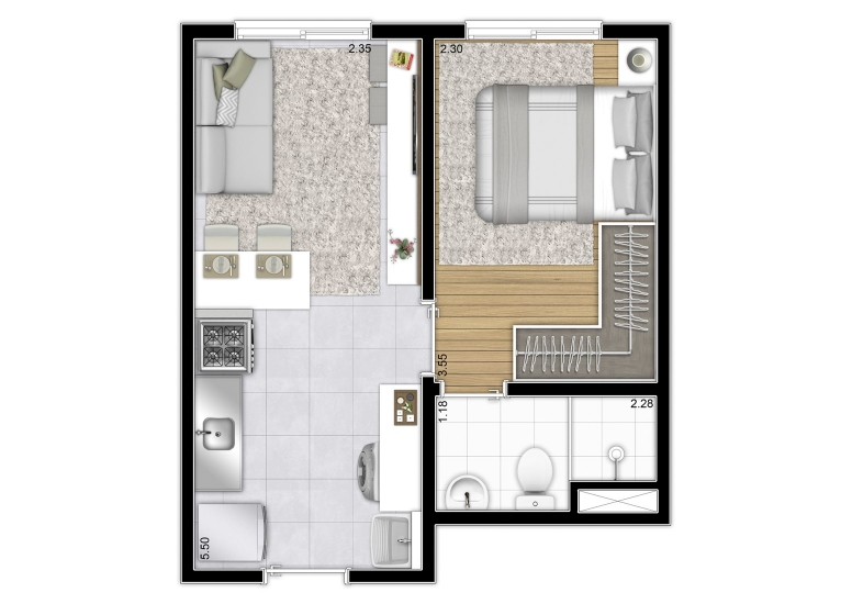 Planta 1 dorm 27,61m² - perspectiva ilustrada - Plano&Reserva da Vila