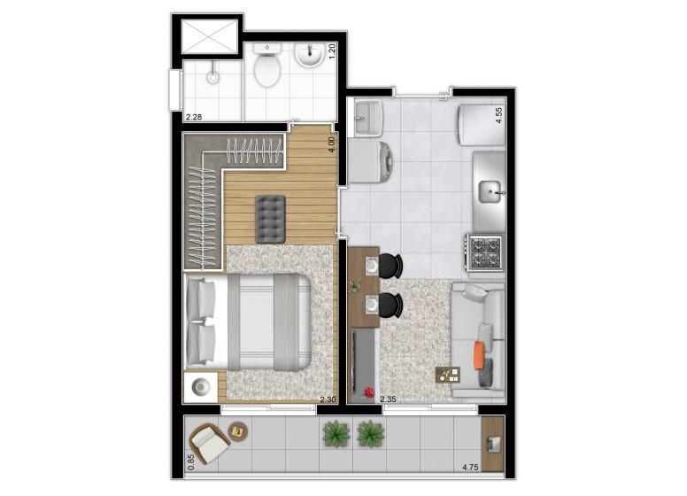 Planta 1 dorm 31,13m² - perspectiva ilustrada - Plano&Reserva da Vila